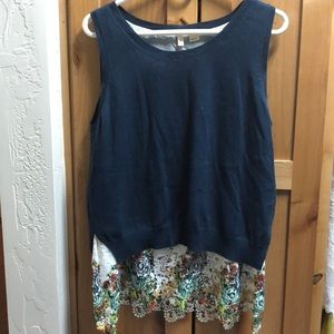 Anthropologie Sleeveless Sweater w/ Peekaboo Lace